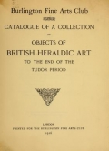 """Cover of """"Catalogue of a collection of objects of British heraldic art to the end of the Tudor period"""""""