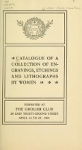 Cover of Catalogue of a collection of engravings, etchings and lithographs by women