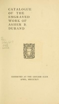 Cover of Catalogue of the engraved work of Asher B. Durand