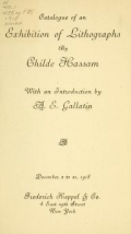Cover of Catalogue of an exhibition of lithographs by Childe Hassam