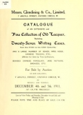 """Cover of """"Catalogue of an extensive and fine collection of old lacquer, including twenty-seven writing cases from the XVIIth to the XIXth centuries, and a large"""""""