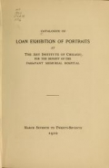 Cover of Catalogue of loan exhibition of portraits at the Art Institute of Chicago