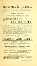 Cover of Catalogue of the magnificent and unique collection of Japanese art objects acquired by the late Mr.