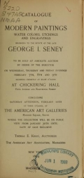 Cover of Catalogue of modern paintings, water colors, etchings, and engravings