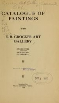 Cover of Catalogue of paintings in the E. B. Crocker Art Gallery