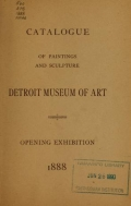 Cover of Catalogue of paintings and sculpture, Detroit Museum of Art