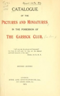 Cover of Catalogue of the pictures and miniatures in the possession of the Garrick Club