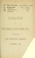 Cover of Catalogue of pictures, statuary & c., belonging to the Redwood Library, September 1, 1885