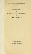 Cover of Catalogue of a special exhibition of textiles