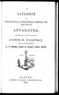 Cover of A catalogue of philosophical, astronomical, chemical and electrical apparatus
