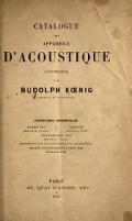 Cover of Catalogue des appareils d'acoustique