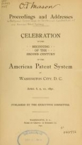 "Cover of ""Celebration of the beginning of the second century of the American patent system at Washington City, D. C., April 8, 9, 10, 1891"""
