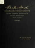 Cover of Ceremonies and re-enactment of the one hundredth anniversary of the first inauguration of Abraham Lincoln, 1861-1961