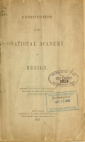 Cover of Constitution of the National Academy of Design