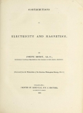 Cover of Contributions to electricity and magnetism