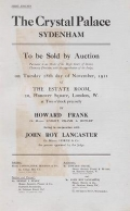 Cover of The Crystal Palace, Sydenham, to be sold by auction