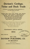 Cover of Davison's cordage, twine and duck trade