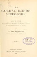 Cover of Der Goldschmiede Merkzeichen