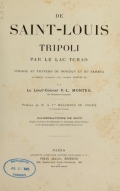 "Cover of ""De Saint-Louis a Tripoli par le Lac Tchad"""