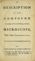 Cover of A description of the compound (commonly call'd the reflecting or double) microscope, with great improvements