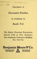 Cover of Description of decorative finishe