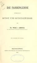 """Cover of """"Die Farbenlehre im hinblick auf Kunst und Kunstgewerbe"""""""