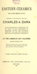 Cover of Eastern ceramics and other objects of art