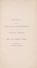 Cover of English definitions of Indian terms