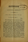 Cover of Estudios de lingüística Americana