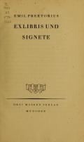 """Cover of """"Ex Libris und Signete"""""""
