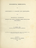 Cover of Experimental observations, and improvements in apparatus and manipulation