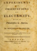 "Cover of ""Experiments and observations on electricity"""