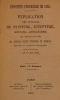 """Cover of """"Explication des ouvrages de peinture, sculpture, gravure, lithographie et architecture des artistes vivants, étrangers et français, exposés au Pala"""""""