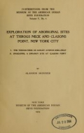 Cover of Exploration of aboriginal sites at Throgs Neck and Clasons Point, New York city