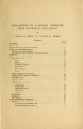 Cover of Exploration of a Munsee cemetery near Montague, New Jersey