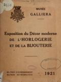 Cover of Exposition du décor moderne de l'horlogerie et de la bijouterie