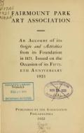 Cover of Fairmount Park Art Association