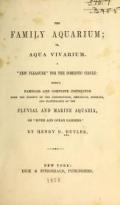 Cover of The family aquarium; or, Aqua vivarium ...