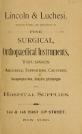Cover of Fine surgical and orthopaedical instruments, trusses