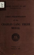 Cover of First presentation of the Charles Lang Freer medal, February 25, 1956