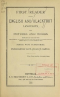 Cover of First reader in the English and Blackfoot languages