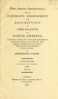 Cover of Flora Americae Septentrionalis, or, A systematic arrangement and description of the plants of North America v.2 (1814)