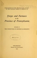 Cover of Forges and furnaces in the province of Pennsylvania