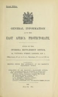 Cover of General information as to the East Africa Protectorate
