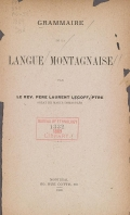 Cover of Grammaire de la langue montagnaise