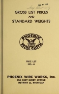 Gross list prices and standard weights