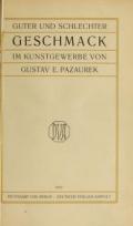Cover of Guter und schlechter Geschmack im Kunstgewerbe