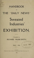 Cover of Handbook of the Daily News Sweated Industries' Exhibition, May 1906