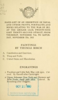 Hand-list of an exhibition of naval and other prints, portraits and books relating to the war of 1812, ... November 7th to ... 23d, 1912