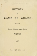 Cover of History of Camp de Grasse, Saint-Pierre-des Corps, France, 1918-1919